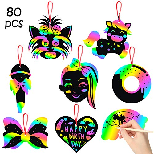 PANTIDE 80Pcs JOJO Rainbow Scratch Paper Cards DIY Unicorn Magic Off Art Crafts Kit with 25 Wooden Styluses Themed Party Favors Games Decorations Christmas Birthday Gifts for Kids
