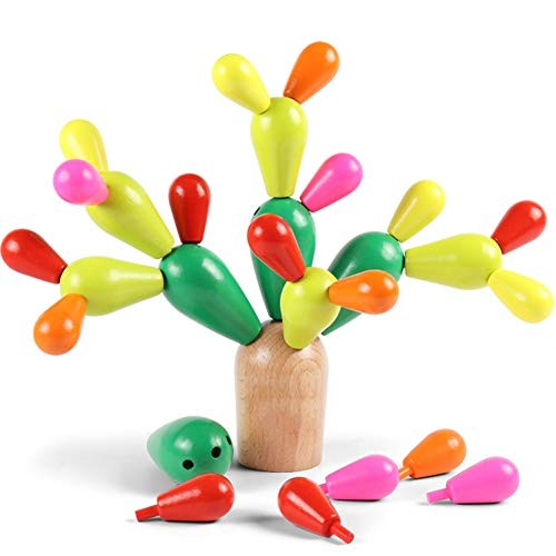 Early Childhood Education Toys Prickly pear Wooden Building Blocks Put into Cactus Puzzle Brain for Children 1-6 Years Old