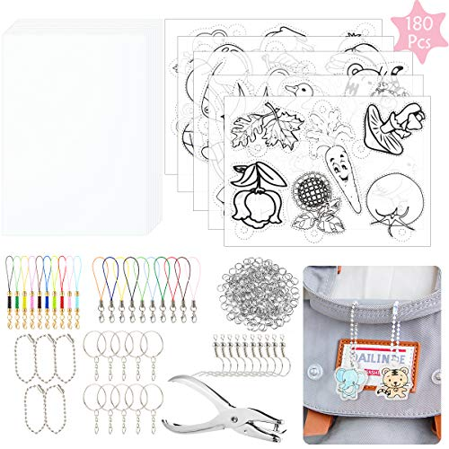 Biubee 180 Pcs Heat Shrink Plastic Sheet Kit- Funny Shrinky Art Paper Kit with 24 Clear Sheets and 156 Trinkets Accessories for Kids Handmade Crafts DIY Ornaments