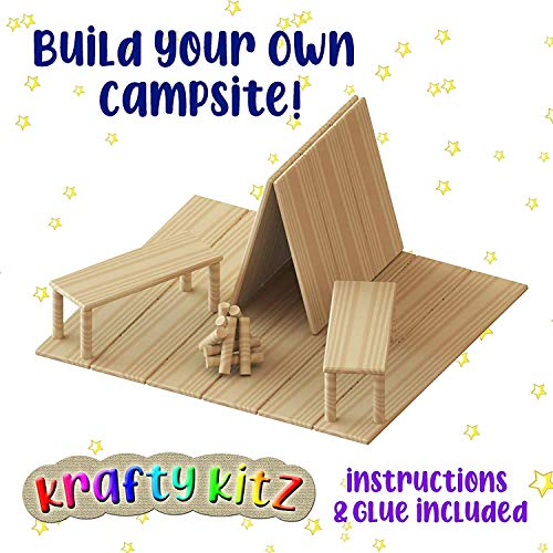 Krafty Kitz Build Your Own Wooden Craft Stick Kit for Kids – Campsite Complete with Instructions and Components