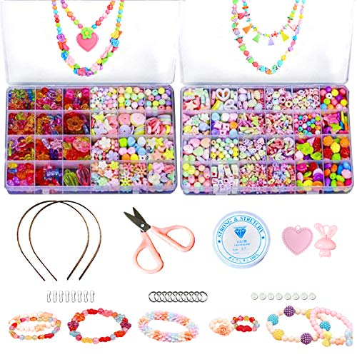 ZYNERY 1200 PCS Bead Kits for Jewelry Making – 48 Different Types and Shapes Colorful Amblyopia Training Beads Craft Kids Girl Gift with DIY Necklaces Bracelet Games