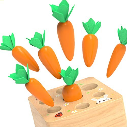 Baby Kim Pulling Carrot Toy Kids Wooden Building Blocks Game Children Early Educational Toys