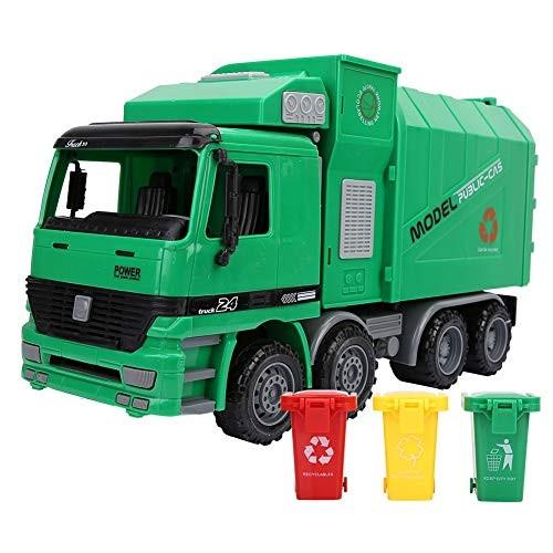 SOONHUA Children Simulation Inertia Garbage Truck Sanitation Car Model Toys with Three Trash