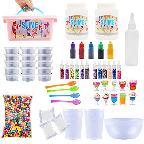 DIY Slime Making Kit – Perfect Arts and Crafts for Girls & Boys Best Glow in The Dark w Supplies to Make Your own Clear So Many Containers