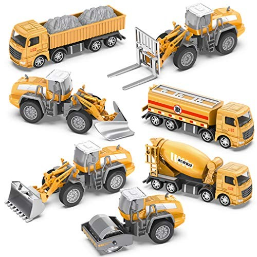 LTLWL Toy Set Truck Transporter Equipped with 7 Engineering Vehicles Alloy Metal Vehicle Model Can Be Freely Disassembled and Assembled at Multiple Joints Movable