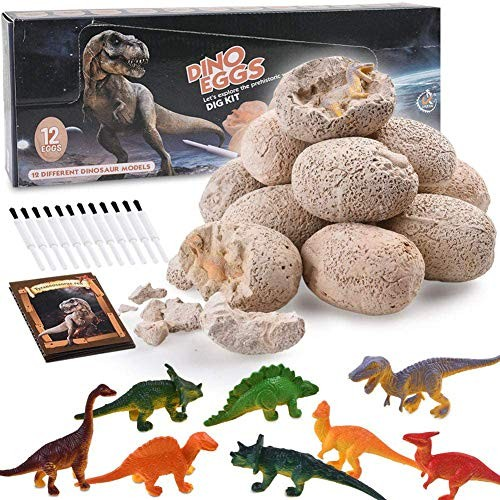TOYSBBS Dinosaur Eggs Dig Fossil Kit 12pcs – Best Dinosaurs Toys Birthday Gift for 4 5 6 7 Year Old Boys Funny Party Game Kids