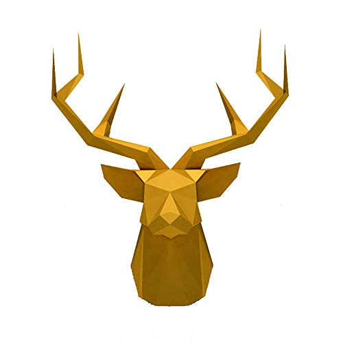 JMFHCD 3D Puzzle Deer Head Animal Paper Model Toy Home Decor Living Room DIY Papercraft Assembly Kit Craft Kid Adult Party GiftGolden