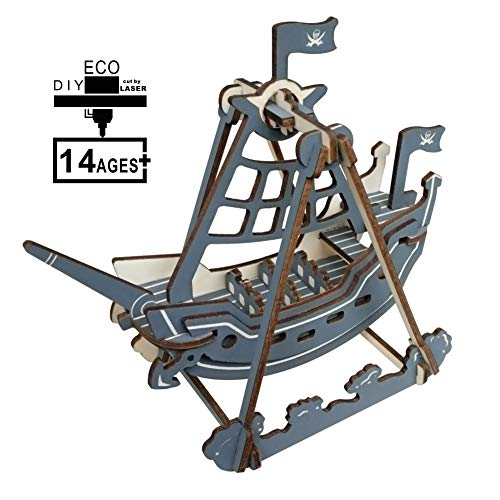 AIWKR 3D Wooden Puzzle Assembly Craft Kits Pirate Ship Shape Laser Cutting Jigsaw and Gifts Home Decoration for Kids Adults 27 Pieces