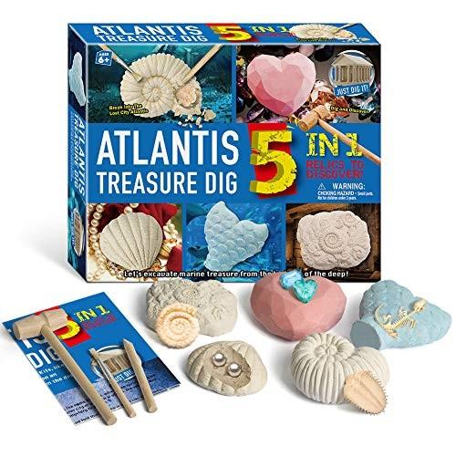 JRTPK 5 in 1 Educational Toys Archaeological Excavation DIY Assembly Model Pirate Dinosaur Fossils Dig Set Kids Crafts Seabed