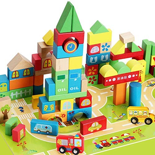 Teerwere Blocks Toys Children's Wooden Building Safety and Environmental Protection Puzzle with Floor Block Cube Color Wood Size ONE Size