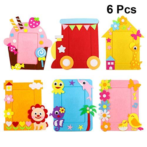ExCEART 6 Set Kids Sewing Kit Cartoon Phone Album Craft Felt Animals Fun Beginner Cloth Kits Parent-Children Interactive Toys for Kindergarten Preschool