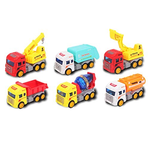 Children's Engineering Vehicle Toy Set Large Simulation Model Each Component Can Be Mobile Wear-Resistant and Drop-Resistant 6 Pcs