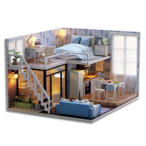 DIY Miniature Dust Cover 3D Wooden Doll House Wood Furniture Building Blocks Toys Kids Dollhouse