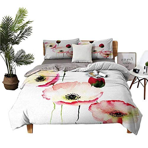 DRAGON VINES 4pcs Bedding Set Flat Bed Sheet Pillowcase Double Home Textile Stylised Different Sized Poppy Flowers Revival Growing Widely Known Eternal Life Sign Pink Red Boy Girl Kid W90 xL90