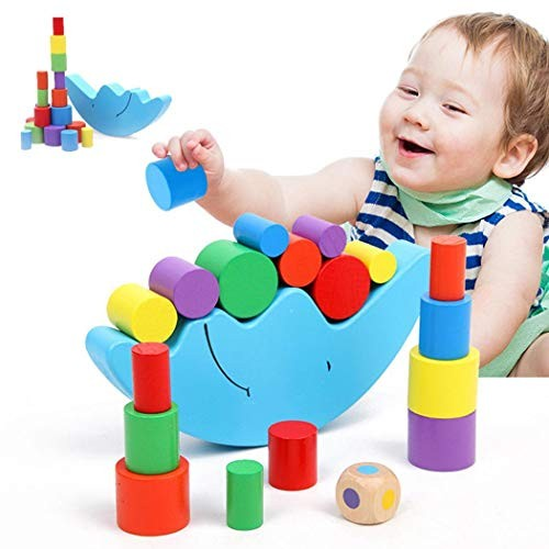 Miseku Children Educational Toys Wooden Moon Balance Building Block Toy Set Stacking Blocks