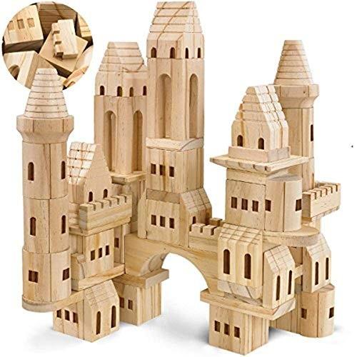 Victoat {75 Piece Set} Wooden Castle Building Blocks Set Toy Solid Pine Wood