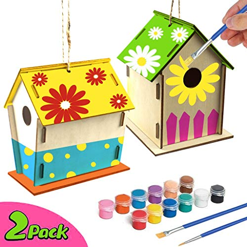 IKevan 2Pcs DIY Unassembled Bird House Kit Brushes Paints Strings Glues Birdhouse Crafts for Kids Ages 4-8