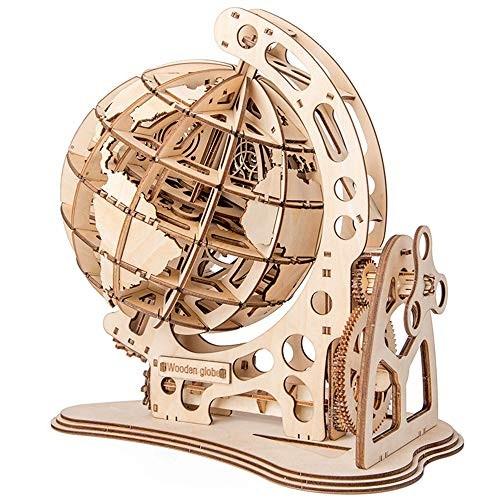 Houseware 3D Wooden rotatable Globe Puzzle self-Assembled Mechanical Transmission DIY Model Craft kit Globe