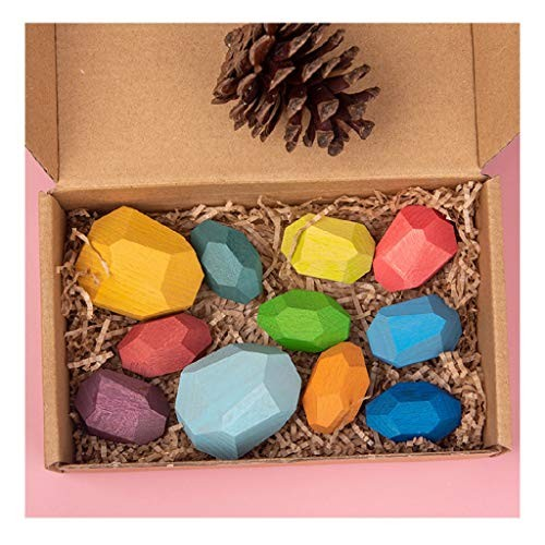 Anyren Wooden Rainbow Stone for Kids Building Block Creative Stacking Game Nordic Style Colored Toy Birthday Gift