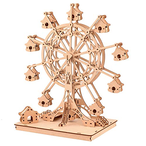 Houseware 3D Wooden Puzzle Assembly Toy-DIY Model Craft kit-Home Decoration-Best Educational Birthday Gift for Children Adults Ferris Wheel