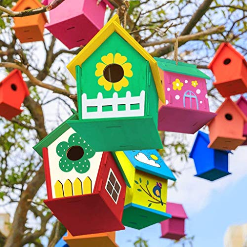 Kiarsan Crafts for Kids Ages 4-8 2Pack DIY Bird House Kit Build and Paint Birdhous 30ml Decor Birds Room Creative Art