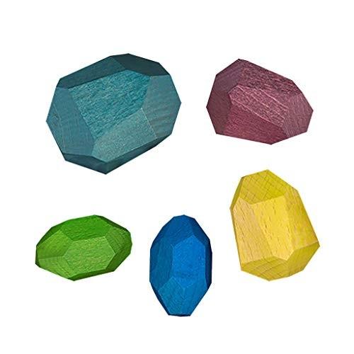 Ktyssp Solid Wood Building BlocksWooden Blocks Construction Toys SetCreative Toy Stacking Game Rainbow 5PCS