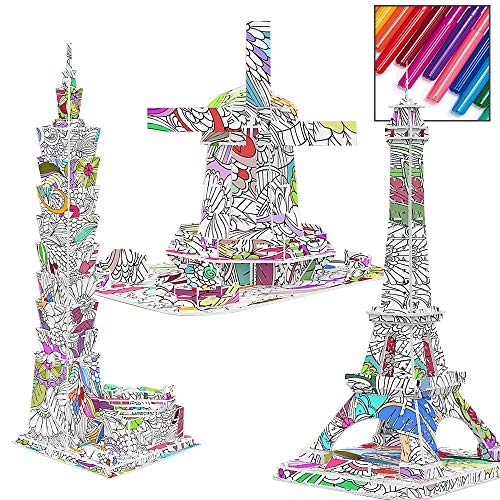 BLLKE 3D Coloring Painting Puzzles Arts and Crafts for Girls & Boys Creative DIY Kit with Supplies Best Toys Dutch Windmill