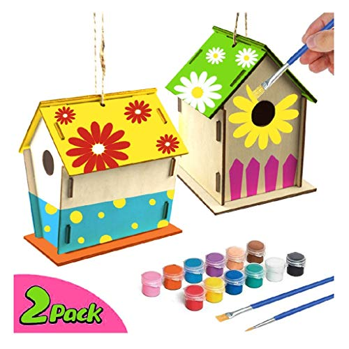 Anyren 2 Pack DIY Bird House Build Kit – Easy to and Paint Paintable Wooden Assembled Birdhouse Crafts Decoration for Kids Ages 4-8