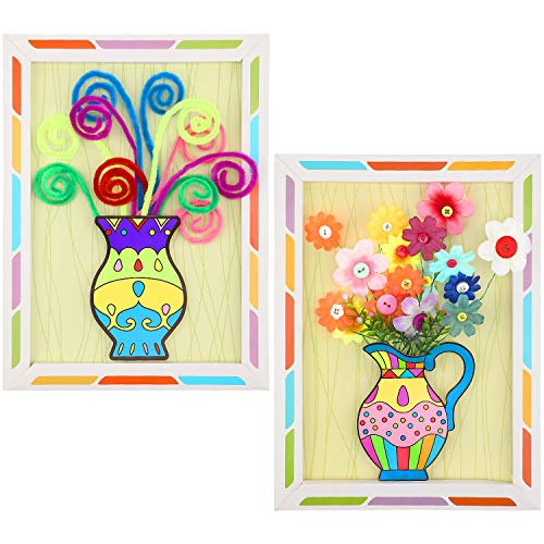 2 Pieces DIY Handmade Flower Pressed Button Bouquet Kids Craft Kits 3D Parent-Child Interactive Educational for