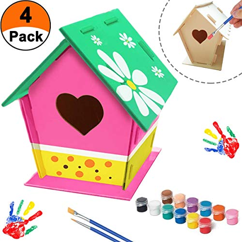 momok DIY Bird House Kit for Kids Crafts Ages 4-8 Design Your Own Wooden Birdhouses Art Kits – 10 Pcs Includes Paints & Brushes