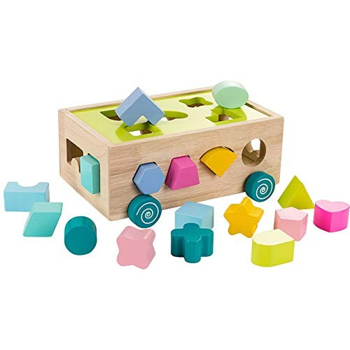 LZC Wooden Toy Building Blocks 3 Years Old 2 Girls 4 Children Shape Matching Early Education Puzzle Assembled Toys