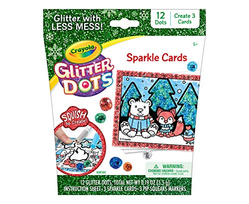 Crayola Glitter Dots Holiday Card Making Kit for Kids Craft Gift 5 6 7 8 Multi