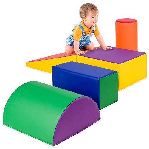 Best Choice Products 5-Piece Kids Climb & Crawl Soft Foam Block Playset Structures for Child Development Motor Skills