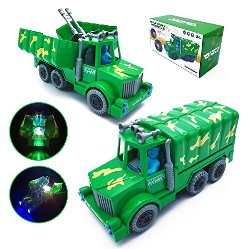 CYKT Army Truck Toys for 3-8 Year Old Boys – Military Electric Deformation Toy