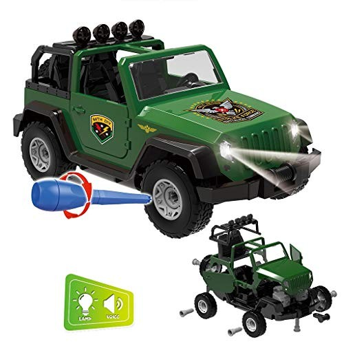 TIANMI DIY Toy Car Assembled Military Vehicle Car Off-Road Truck with Engine Sounds LED