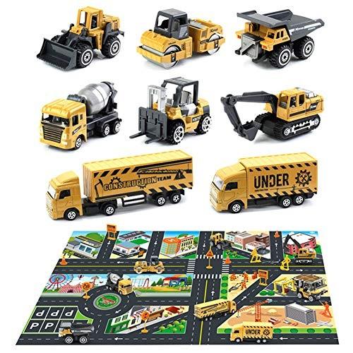 NarutoSak Truck Toy Set8Pcs Mini Construction Truck Car Models Road Sign City Map Carpet