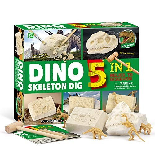 NarutoSak Dinosaur Excavation KitKid 5 in 1 Archaeology Skeleton Dig Kit Science Education Toy Green