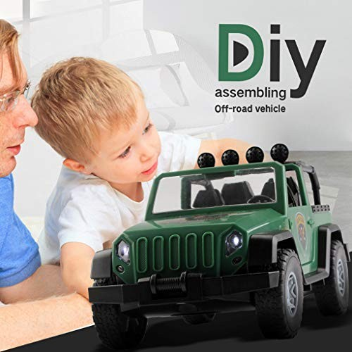 HTNBO Kids Toys Set DIY Assembled Military Vehicle Car Off-Road Truck with Engine Sounds