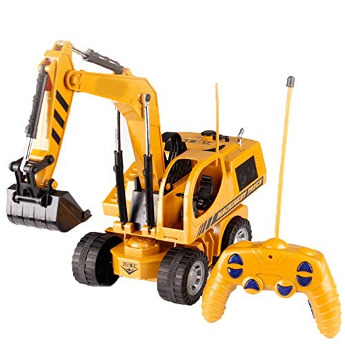 MAQLKC Colored Lights Remote Control Engineering Vehicle Electric Build Excavator Toy Construction Fully Functional Vehicles Digger Scoop Load Carry Dump Sand for Kid