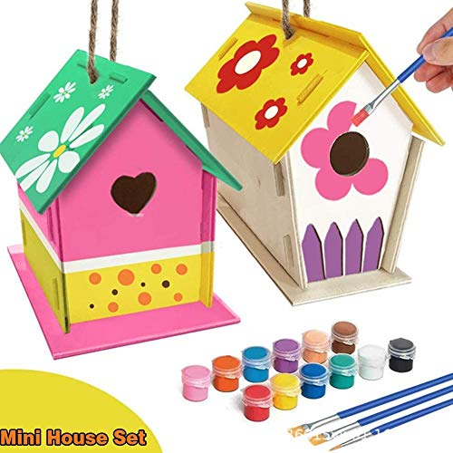 Fulstarshop DIY Birdhouse Kit Build and Paint for Kids Adults Wooden Arts Crafts with 12-Color 3Pcs Brushes 2Pcs Wood House Palette Craft Hanging Ropes
