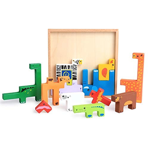 Eggtoy Wooden Puzzle Brain Teasers Toy Building Blocks Game Wood Puzzles Intelligence Educational Toys for Preschool Children Kids
