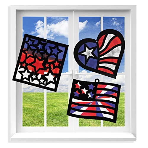 VHALE Suncatcher Kit for Kids 3 Sets of Stained Glass Effect Paper Suncatchers 9 Cutouts 27 Tissue Papers Window Art Classroom Arts and Crafts Great Travel Toys Party Favors Patriotic