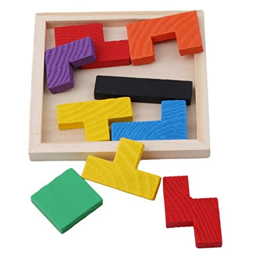 Dearanswer Wooden Color Building Blocks Colored Russian Geometric Square Educational Toys