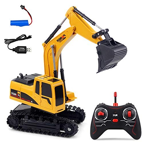 LISI Excavator Hydraulic Toy Car 1:24 5 Channel Remote Control 270 Rotation 2 Materials