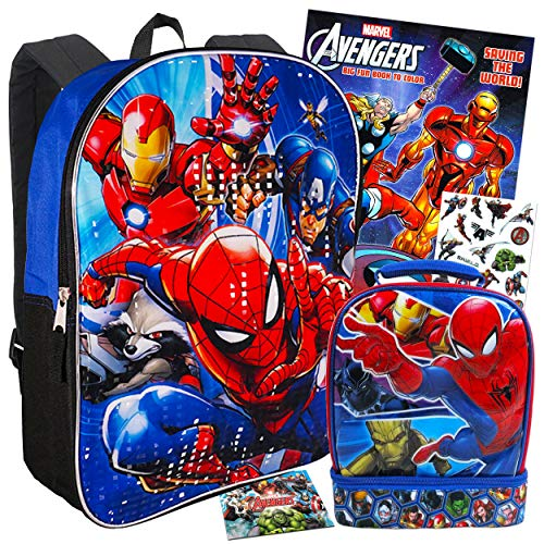 Marvel Avengers Backpack and Lunch Box for Kids Bundle ~ Deluxe 15 Insulated Bag with Bonus Coloring Book Stickers Avengers School Supplies