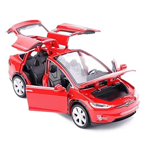 Zeyujie 1:32 Simulation Tesla Alloy Car Model 6 Door Open Sound and Light Pull