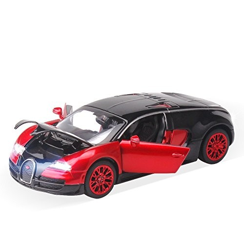 buggatti Toy CarsKids Pull Back diecast 1:32 Model Metal car Toy (red)