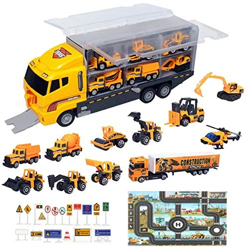 ZCOINS Construction Trucks 11 in 1 Vehicles with Car Met and Road Sign Sticker