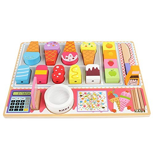 MPLMM Wooden Ice Cream Fruit Shop Barbecue Combination Set Building Block Simulation Kitchen Children Exercise Suitable for Boys and Girls