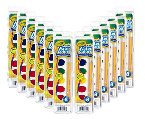 Crayola Washable Watercolors in 8 Vibrant Colors 12 Paint Sets for Kids Classroom Supplies